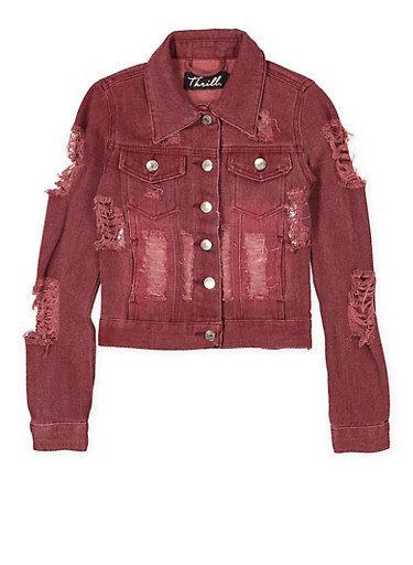Girls 7-16 Destroyed Denim Jacket | Burgundy,WINE,large