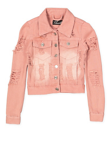 Girls 7-16 Destroyed Denim Jacket | Pink,MAUVE,large