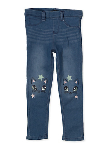 Girls 4-6x Star Cat Embroidered Jeggings,LIGHT WASH,large