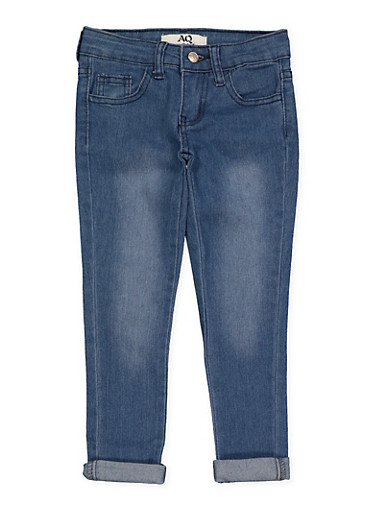 Girls 4-6x Faded Rolled Cuff Jeans | Light Wash,LIGHT WASH,large
