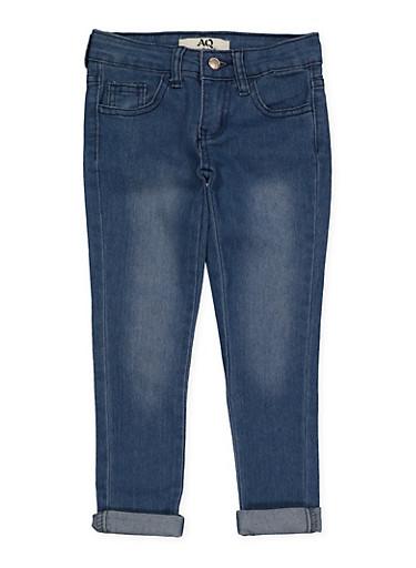 Girls 4-6x Rolled Cuff Jeans,MEDIUM WASH,large