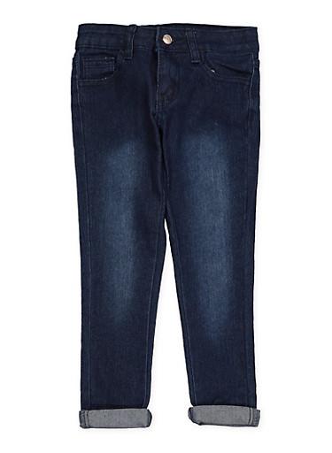 Girls 4-6x Rolled Cuff Hyperstretch Jeans,DARK WASH,large