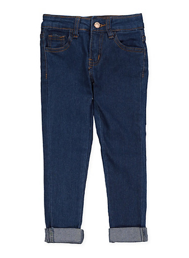 Girls 4-6x Rolled Cuff Jeans,RYL BLUE,large