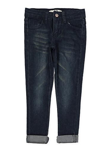 Girls 4-6x Whisker Wash Skinny Jeans,DENIM,large