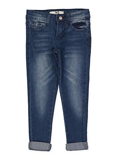 Girls 4-6x Whisker Wash Skinny Jeans | Medium Wash,DENIM,large
