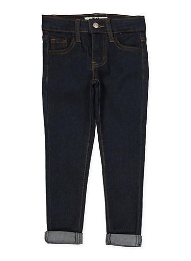 Girls 4-6x Rolled Cuff Jeans | Dark Wash,DENIM,large