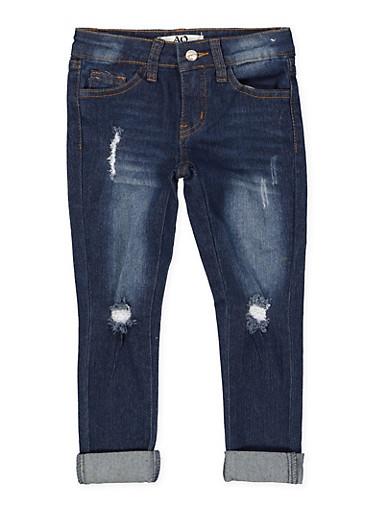 Girls 4-6x Distressed Rolled Cuff Jeans,DENIM,large