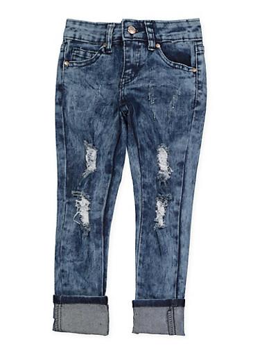 Girls 4-6x Acid Wash Distressed Jeans,DENIM,large