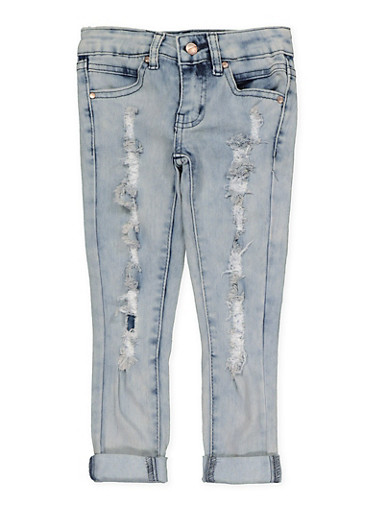 Girls 4-6x Frayed Skinny Jeans,DENIM,large