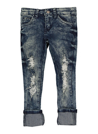 Girls 4-6x Ripped Acid Wash Jeans,DENIM,large