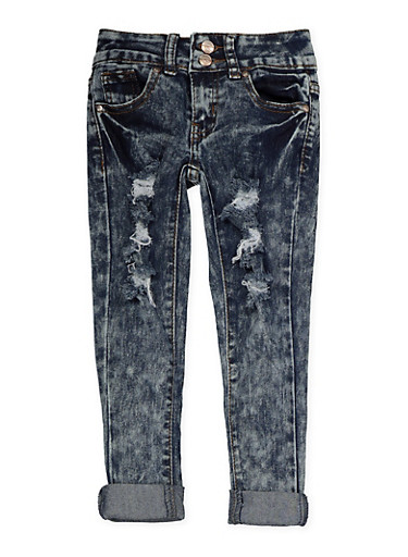 Girls 4-6x 2 Button Distressed Jeans | Acid Wash,DENIM,large