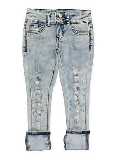 Girls 4-6x 2 Button Distressed Jeans,DENIM,large