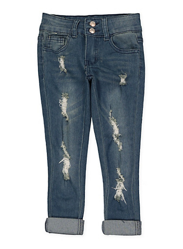 Girls 4-6x 2 Button Distressed Jeans | Medium Wash,DENIM,large