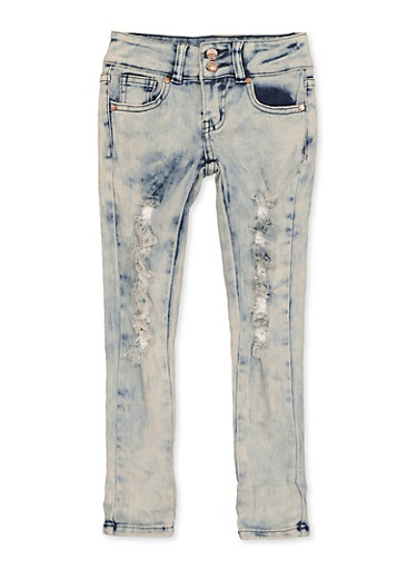 Girls 4-6x Two Button Distressed Jeans,DENIM,large