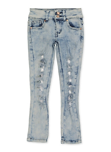 Girls 4-6x Frayed 2 Button Jeans,DENIM,large