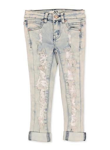 Girls 4-6x Ripped Cuffed Jeans,DENIM,large