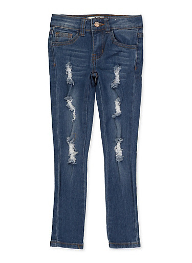 Girls 4-6x Frayed Distressed Jeans,DENIM,large