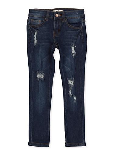 Girls 4-6x Frayed Whiskered Jeans,DENIM,large