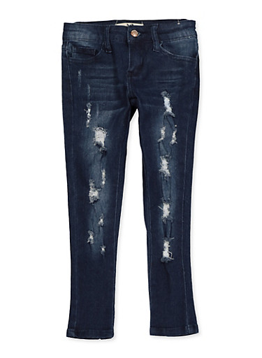 Girls 4-6x Whisker Wash Frayed Jeans,DENIM,large
