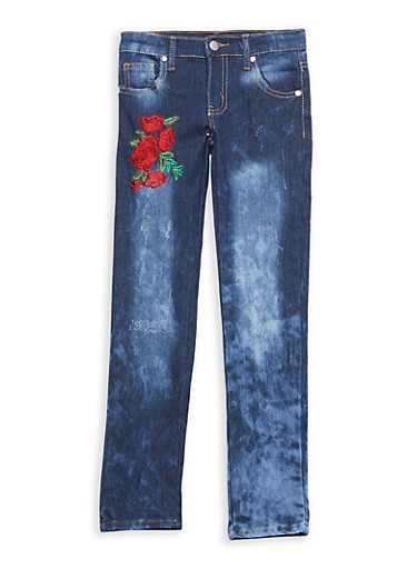 Girls 4-6x Rose Embroidered Jeans | Tuggl