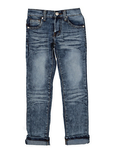 Girls 4-6x Whisker Wash Jeans,DENIM,large