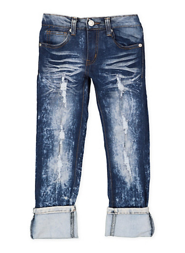 Girls 4-6x Whiskered Acid Wash Jeans,DENIM,large