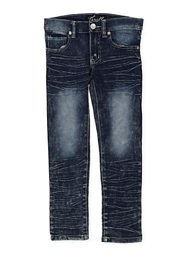 Girls 4-6x Whisker Wash Embroidered Pocket Jeans,DENIM,large