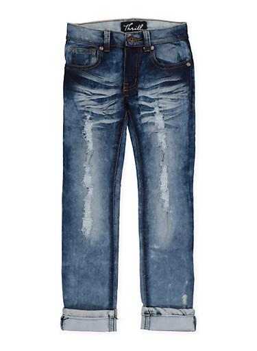 Girls 4-6x Distressed Whisker Wash Jeans,DENIM,large