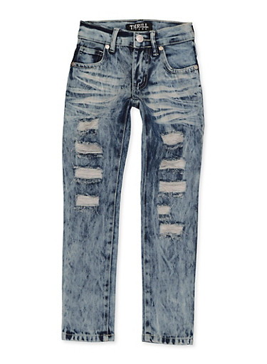 Girls 4-6x Destruction Frayed Jeans,DENIM,large