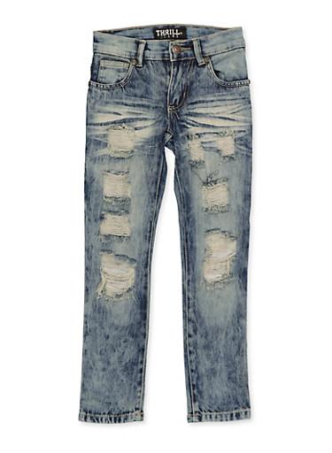 Girls 4-6x Whisker Wash Destruction Jeans,DENIM,large