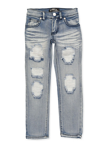 Girls 4-6x Destruction Whiskered Jeans,DENIM,large