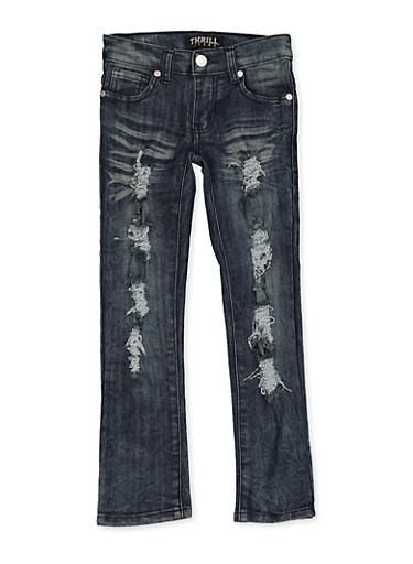 Girls 4-6x Frayed Whisker Wash Jeans,DENIM,large