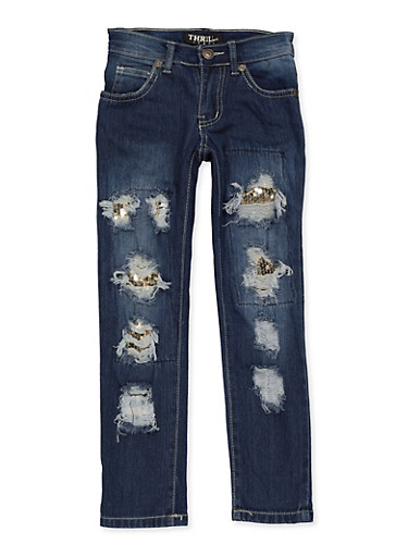 Girls 4-6x Sequin Patch and Repair Jeans,DENIM,large