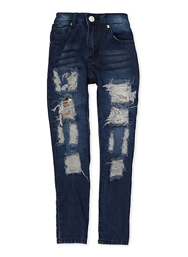 Little Girls Sequin Rip and Repair Jeans,DENIM,large
