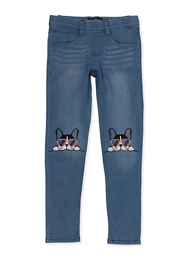 Girls 7-16 Dog Embroidered Pull On Jeans,LIGHT WASH,large