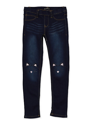 Girls 7-16 Pull On Skinny Jeans,NAVY,large