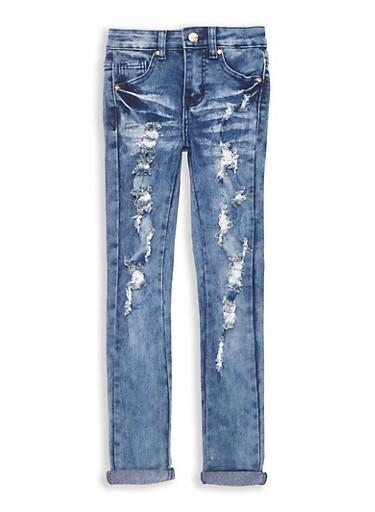 Girls 7-16 Cuffed Antique Wash Skinny Jeans,DENIM,large