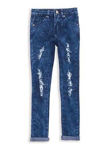 Girls 7-16 Distressed Dark Wash Jeans,DENIM,large