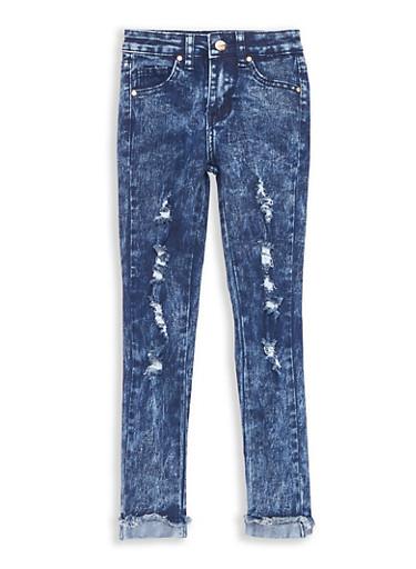Girls 7-16 Distressed Acid Wash Skinny Jeans | Tuggl