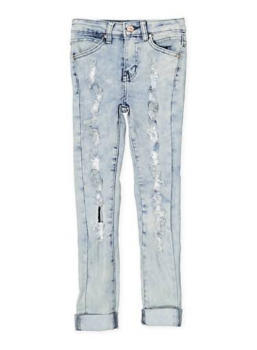 Girls 7-16 Ripped and Frayed Skinny Jeans,DENIM,large