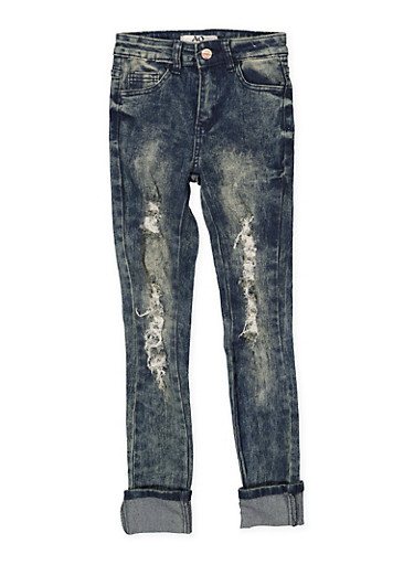 Girls 7-16 Frayed Antique Wash Skinny Jeans,DENIM,large