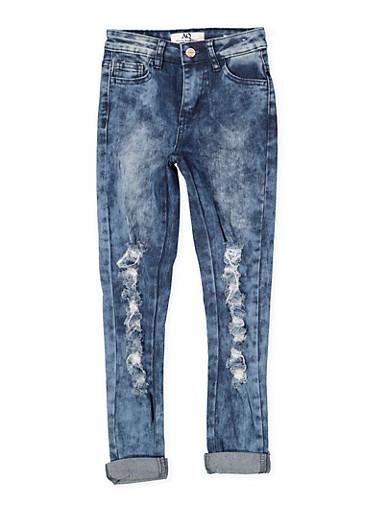 Girls 7-16 Destroyed Acid Wash Jeans,DENIM,large