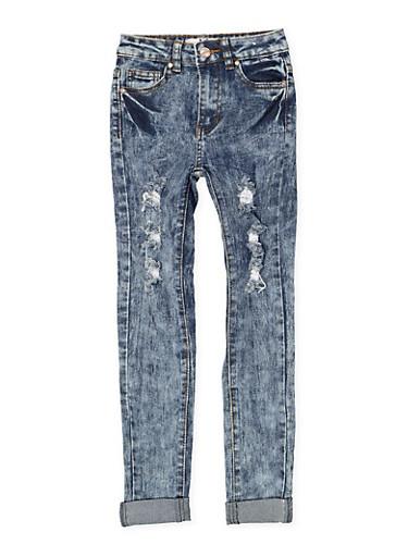Girls 7-16 Distressed Acid Wash Jeans,DENIM,large