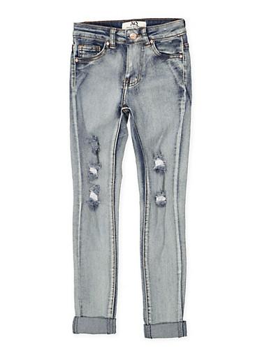 Girls 7-16 Light Wash Cuffed Jeans,DENIM,large