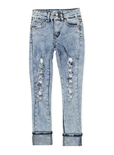 Girls 7-16 Two Button Distressed Skinny Jeans,DENIM,large