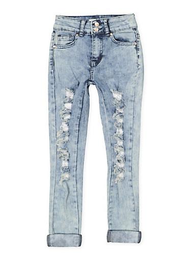 Girls 7-16 Rolled Cuff Destruction Jeans,DENIM,large