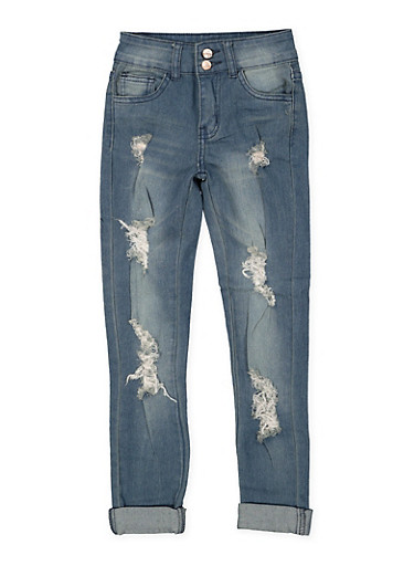 Girls 7-16 Destroyed Double Button Skinny Jeans,DENIM,large