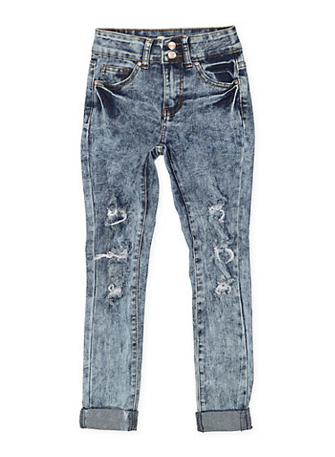 Girls 7-16 Rolled Cuff Distressed Jeans,DENIM,large