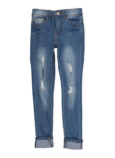 Girls 7-16 Distressed Skinny Jeans | Medium Wash,DENIM,large
