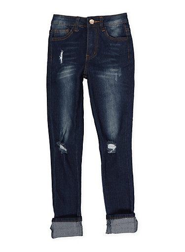Girls 7-16 Distressed Skinny Jeans | Dark Wash,DENIM,large